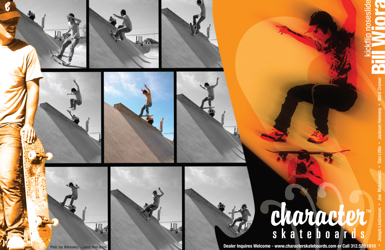 Character skateboards magazine advertisement